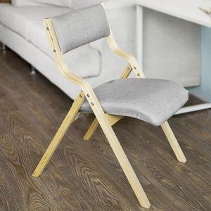 SoBuy® Klappstuhl, Küchenstuhl, mit gepolsterter Sitzfläche und Lehne, grau, FST40-HG
