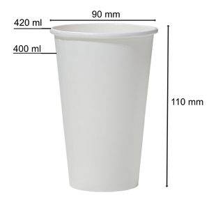 50 Pappbecher weiß 400 ml Trinkbecher 0,4 l