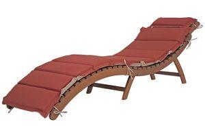 Faltliege NASSAU mit Auflage 184 cm Sonnenliege Liegestuhl Holzliege Gartenliege