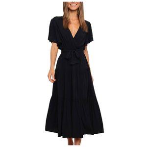 Damen lässig Mode einfarbig V-Ausschnitt Schnürkleid mit ausgestellten Ärmeln Spleißkleid Größe:XL,Farbe:Schwarz