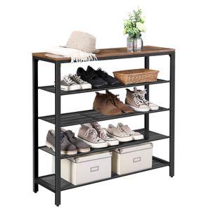 VASAGLE Schuhregal mit 4 Ablagen für 12-16 paar Schuhe Schuhablage mit großzügiger Oberfläche aus Metall Industrie-Design Vintage dunkelbraun LBS15BX