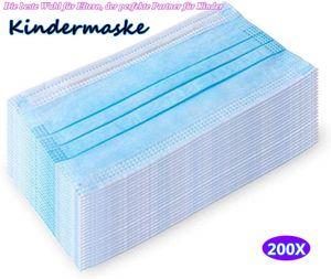 200 Stück Blau Einweg dreischichtige Kindermaske mit schmelzgeblasenem Stoff, die beste Wahl für Eltern, der perfekte Partner für Kinder