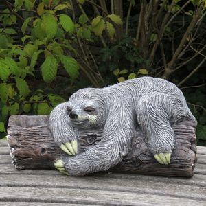 Deko Faultier liegend Stein-Optik Gartenfigur Magnesium-Oxid Dekoobjekt Skulptur