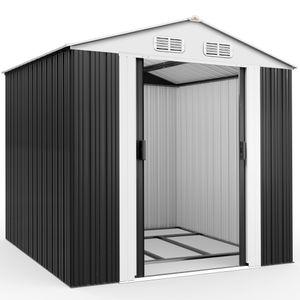 Gardebruk XXL Metall Gerätehaus 5m² mit Fundament 257x205x177,5cm Schiebetür Anthrazit Geräteschuppen Gartenhaus 8,4m³