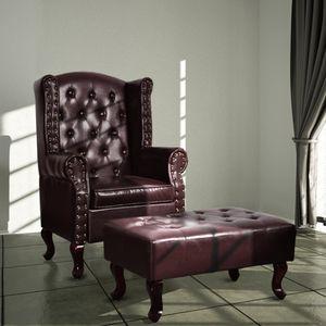 Moderne- Sessel Loungesessel Relaxsessel für Wohnzimmer mit Fußhocker Dunkelbraun Kunstleder