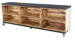 Rustikales TV Lowboard mit 6 Fächern, 150x53x30cm Holzbohlen Weinkisten Paletten