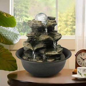 Spinning Orb Rock Cascading Tischbrunnen, Zen Meditation Zimmerbrunnen Indoor Brunnen mit LED Beleuchtung für Haus, Büro, Schlafzimmer-Dekoration(21 * 20 * 20cm) (Bräunlich gelb, 21cm)