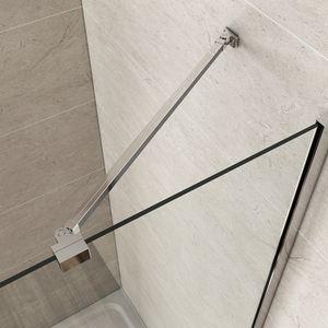 Meykoers Haltestange für Duschwand Stabilisator mit Gelenk flexibel 180°drehbar 500mm für Glasstärke 5-6mm