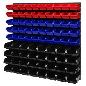 Stapelboxen Wandregal Box Sichtlagerkästen Schüttenregal Lagersystem 82 Boxen