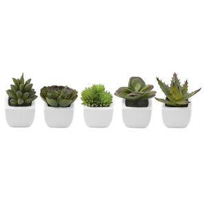 5tlg. Mini Kunstpflanzen Set Sukkulenten im Topf 5x5xH7-9cm