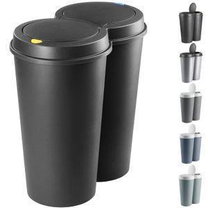 Deuba Mülleimer 50 L Duo 2fach Trennsystem 2x25L Druckknopf-Automatik Küche Abfalleimer Müllbehälter Mülltrennung Büro, Farbe:silber - silver - argent