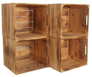 CHICCIE 4 Set Kallax Holzkiste Karl - Aufbewahrungsbox Geflammt 33x38x33cm Aufbewahrungskorb Schubladenbox Holz Regal