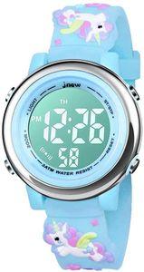 Kinderuhr, Kinder Armbanduhr 3D Cartoon Wasserdicht 7 Farben Lichter Kleinkind Handgelenk Digitaluhr mit Alarm Stoppuhr für 3-10 Jahre Jungen Mädchen kleines Kind(Blau)