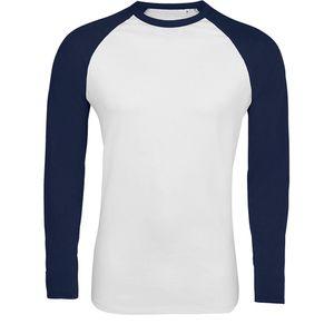 SOLS Herren Funky Kontrast Langarm T-Shirt PC3513 (XL) (Weiß/Marineblau)
