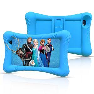 Pritom P7 7-Zoll-Tablet für Kinder, 1 GB RAM, 32 GB ROM, Quad-Core-Prozessor, HD-IPS-Display, WiFi-Android 9.0-Tablet, kindersicher mit Silikonhülle für Kindertabletts, Blau