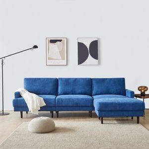 Ecksofa Eckcouch Sofa 3 Sitzer mit beweglich Hocker L Form Sofa 266cm Lange ottomane Sofa für Wohnzimmer Büro (Blau)