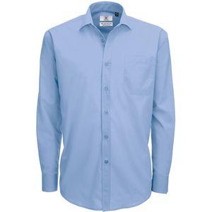 B&C Smart Poplin Herren Hemd, Langarm BC111 (3XL) (Business Blau)
