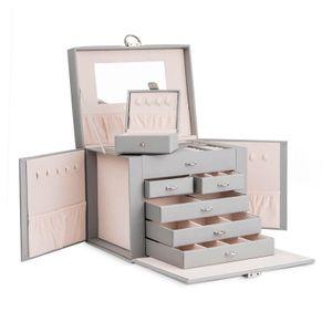 Schmuckkästchen Schmuckkasten Schmuckkoffer 6 Schubladen mit Spiegel Schmuckbox 6 Schubladen