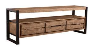 SIT Möbel Lowboard | 3 Schubladen, 1 offenes Fach | Akazie natur | Metall schwarz | B 160 x T 40 x H 55 cm | 11815-01 | Serie NATURAL EDGE