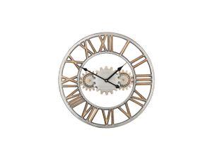 Wanduhr Silber mit Gold ø 46 cm im Metallic Look Rund Klassisch