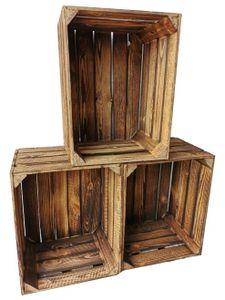 3er Set Vintage geflammte Obstkiste Holzkiste 50 x40 x 30 cm Ideal zum Möbelbau