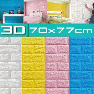 10Stk Wandpaneele Selbstklebend 3D Tapete Wandpaneele Wasserdicht Wandaufkleber 70cmx77cmx5mm Farbe: Gelb