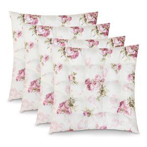 WOMETO 4er Set Sitzkissen Stuhlkissen Sitzpolster Rosi 40x40x4 cm - Rosen creme weiß rosa Sitzauflage Auflage für Haus und Garten Polster Landhaus