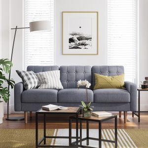 VASAGLE Sofa Couch Bezug aus Polyester Gestell und Beine aus Massivholz Polstermöbel modernes Design 182 x 80,5 x 84 cm grau LCS101G01