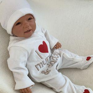 Baby Mädchen Jungen Strampler Schlafanzug Einteiler Gr. Newborn (50/56) Creme Rot