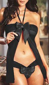 Frauen Sexy Dessous Nachtwäsche Unterwäsche Nachtwäsche Spitze G-String Schwarz 3013