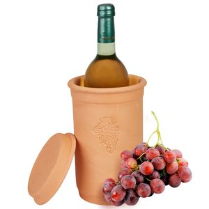 Weinkühler + Untersetzer Ø12.5cm Flaschen-Kühler Wasser Wein Sekt Terrakotta kühlt stundenlang