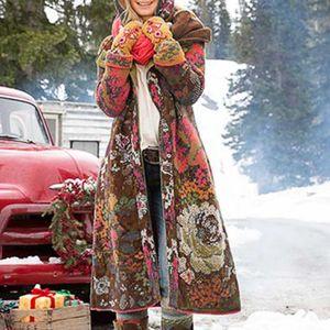 Frauen drucken Umdrehen Kragen Knöpfe Kapuze Langarm Jacke Langmantel Größe:XXL,Farbe:Ocker