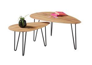 """Couchtisch """"JUAN"""" Beistelltisch Wohnzimmertisch Tisch Eiche massiv oval Set"""