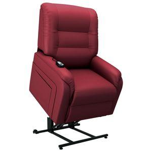 vidaXL Elektrischer TV-Sessel mit Aufstehhilfe Weinrot Kunstleder