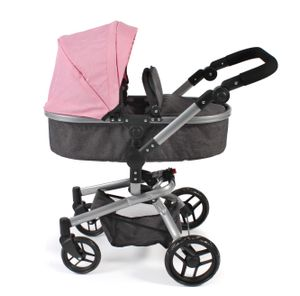 Kombi-Puppenwagen Yolo, Melange dunkelgrau-rosa