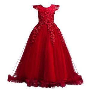 IEFIEL Mädchen Kleid festlich Spitze Tüll Hochzeit Kleid Prinzessin Kleider langes Blumenmädchenkleid,Rot,Gr.122-128