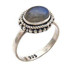 Labradorit Ring 925 Silber Sterlingsilber Damenring grün blau (MRI 135-05),  Ringgröße:54 mm / Ø 17.2 mm