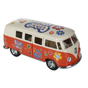 Metall Modellauto VW-Bus T1 1962 Flower Power, Farbe:orange