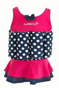 Konfidence Badeanzug Float Suit mit integriertem Auftrieb Pink Polka Skirt Schwimmhilfe für optimale Armfreiheit 4 - 5 Jahre