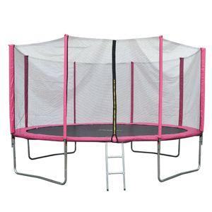 JAWINIO Trampolin 427 cm Gartentrampolin Trampolin Kinder Komplett-Set Leiter Sprungtuch Randabdeckung Pink