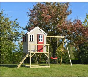 Wendi Toys Kinderspielhaus Zebra 3,5x1,92 m natur Spielturm inkl. Veranda und Schaukelgerüst