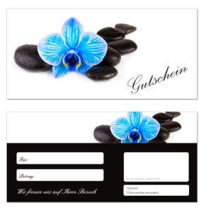 10 Stück Geschenkgutscheine (Orchidee-648) - Gutscheinkarten Gutscheine für Bereiche Wellness, Erholung, Entspannung oder Kosmetik und Reisen
