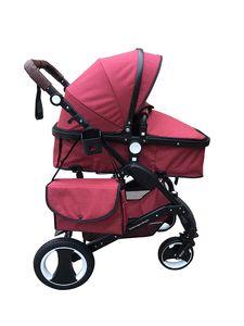 """Kinderwagen """"California"""", 3 in 1 Kombikinderwagen Megaset 8 teilig inkl. Babyschale, Sportwagen, Babywanne und Zubehör,  nach der Sicherheitsnorm EN1888, Bordeaux Rot"""