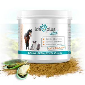 Ida Plus - 100% Grünlippmuschelpulver - 100 g - Grünlippmuschel zur Unterstützung der Gelenkfunktion für Hund, Katze & Pferd - ohne Zusätze - mit Glykosami-noglykanen, Omega 3, Calcium, Magnesium