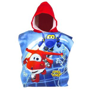 Auswahl Kapuzen-Poncho | 50 x 100 cm | Super Wings | Kinder Badeponcho, Farbe:Rot