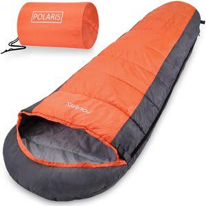 Schlafsack Polaris 210x75cm Mumienschlafsack -7°C Deckenschlafsack Zelt Camping, Farbe:orange-anthrazit