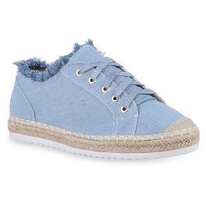 Mytrendshoe Damen Plateau Sneaker Turnschuhe Glitzer Schnürer Bast Schuhe 820756, Farbe: Blau, Größe: 37