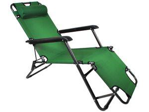 Gartenstuhl Klappliege Gartenliege stufenlos verstellbar praktische leicht zusammenklappbar Kopfpolster 928 , Farbe:Grün1