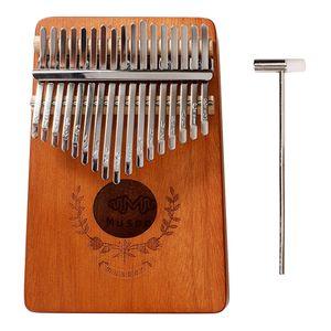 Professionelle Kalimba 17 Schlüssel, Daumenklavier Kalimba Mahagoniholz Finger-Klavier Thumb Piano Instrument mit Stimmhammer Holz 185 x 125 x 35 mm 17 Tasten 17 Schlüssel Kalimba