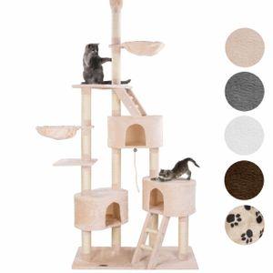 happypet® Kratzbaum für Katzen deckenhoch CAT027-4 höhenverstellbar 230 - 260 cm hoch, großer Kletterbaum Katzenbaum, Säulen mit Sisal ca. 8 cm, Haus, Liegemulde, Treppe, Spielseil, Deckenspanner, BEIGE